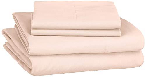 Amazon Basics Soft Microfiber Sheet Set with Elastic Pockets  Full Carnation Blush