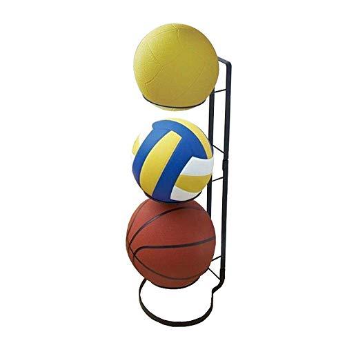 N/Z Home Equipment Ball Rack 3 Stack Basketball Rack Vertical Ball Storage Rack Iron Ball Rack For Home Schools Sport Utility Storage Rack (Color : Black Size : 20.5x25.5x65cm)