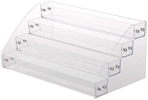 Acrílico, 4 capas, organizador de esmalte de uñas, estante de exhibición de sobremesa, soporte en la mesa o escritorio con capacidad para 40 botellas, transparente, 4 niveles, soporte para aceites