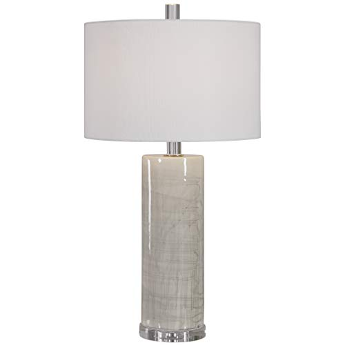 Uttermost 28214 Zesiro Contemporary Light Taupe and Gray Ceramic Table Lamp
