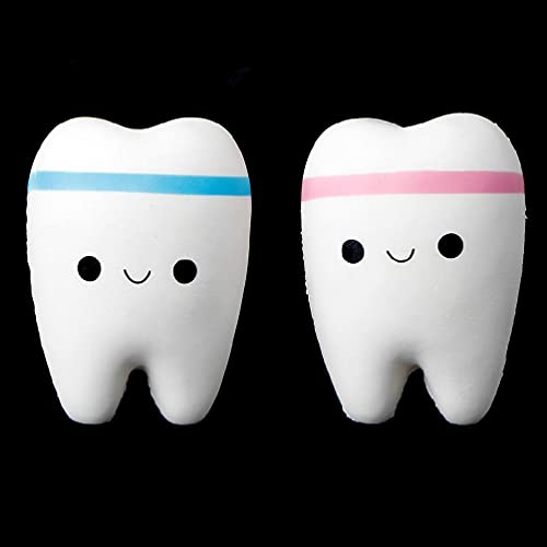 Lindo diente Jumbo Squishy aumento lento apretón estrés mano juguete suave teléfono colgante madera bebé juguete