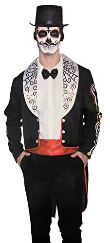 Brandsseller Disfraz de Halloween para hombre, Da de los Muertos, carnaval, fiesta de despedida de soltero, talla nica, color negro y rojo