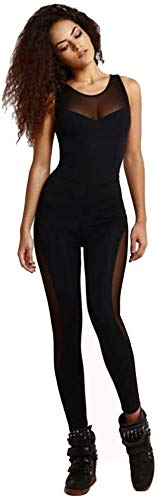 Sport Leggins,Yogahose Vrouwen Yoga Lange Jumpsuit Sporten Fitness Hardlopen Dance Overalls Bodysuit Stretch mouwen Backless Mesh Patchwork Unitard Playsuit, Black-M (Color : Black, Size : Small)