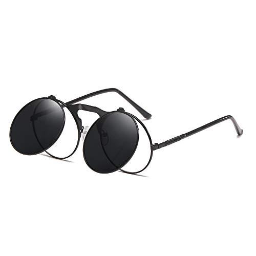 NBJSL Gafas de sol con tapa de marco redondo retro Gafas de sol unisex Embalaje de regalo exquisito