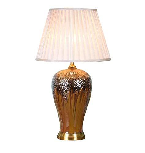ZOUSHUAIDEDIAN Lámpara de mesa de cerámica, moderna lámpara de mesa creativa simple, lámpara de escritorio de noche, lámparas de mesita de noche con tablilla de tela de lino, adecuado para sala de est