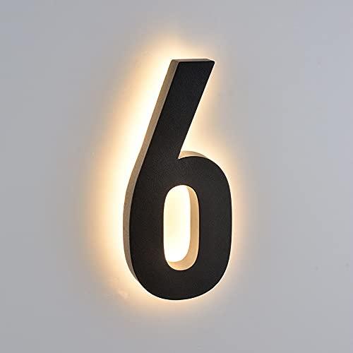 Números de casa flotantes LED retroiluminados de acero inoxidable de 10 pulgadas 25 cm, aspecto moderno a escala, número de casa iluminada, números de dirección iluminados, luz cálida, negro