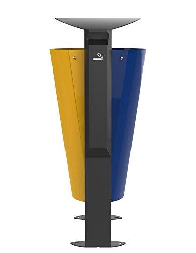 Corbeille sur pied Arkea métal - 2 x 60l - gris manganèse/bleu outremer - RAL 5002 / jaune colza - RAL 1021 + cendrier 3l