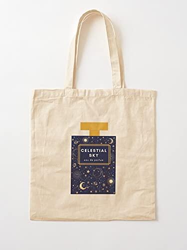 Genérico de Style Stars Sun Night and Perfume Sky - Perfume Vintage Engraving Celestial Golden Moon Eau | Bolsas de lona con asas de algodón duradero