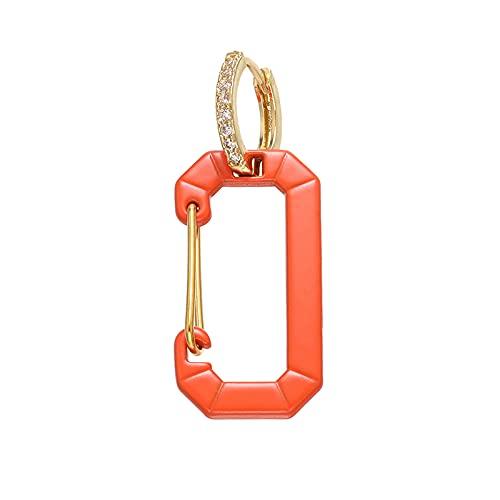 xingguang Pendientes de aro pequeños de 1 pieza, de color rectangular, esmaltados, para mujer, joyería de moda (color metal: dorado y naranja)
