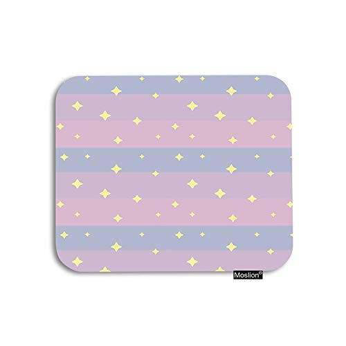 Moslion Star Mouse Pad Yellow Cute Fantasy Night Stars in Pink Blue Stripes Sunrise Sky Gaming Mouse Pad Rubber Large Mousepad for Computer Desk Laptop Office Work 7.9x9.5 Inch