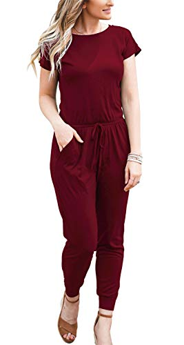 DouBCQ Womens Casual Short Sleeve Jumpsuits Elastic Waist Jumpsuit with Pockets(Wine Red, M)