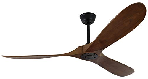 Goozegg 60 Inches Outdoor Ceiling Fan with Remote Control, 3 Balsa Wood Blades, Energy Efficient DC Motor, Walnut Black