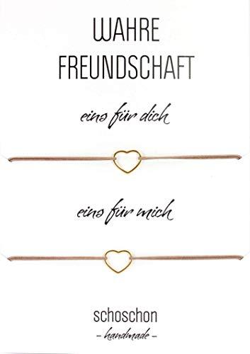 SCHOSCHON Damen Freundinnen/Mutter Tochter Armband Set Herz 925 Silber vergoldet // Geschenkideen Beste Freundin BFF Schmuck Geschenk