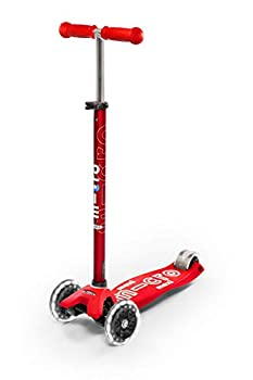 Micro Kickboard - Maxi Deluxe LED - Three Wheeled Lean-to-Steer Swiss-Designed Micro Scooter for Kids with Motion-Activated Light-Up Wheels for Ages 5-12  Red