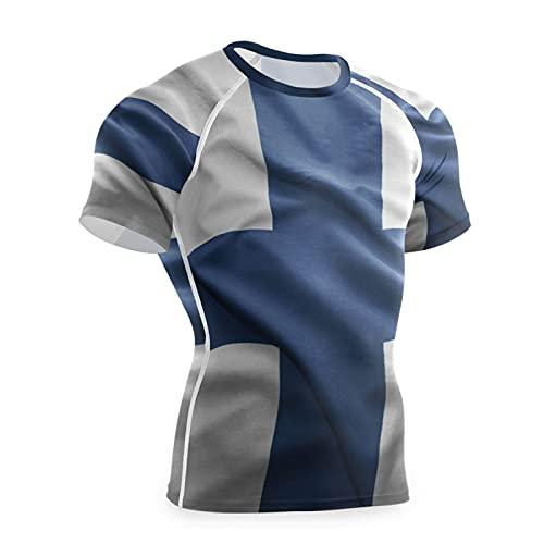 Magnesis Finland Flag - Maglietta a compressione da uomo a maniche corte Multi L