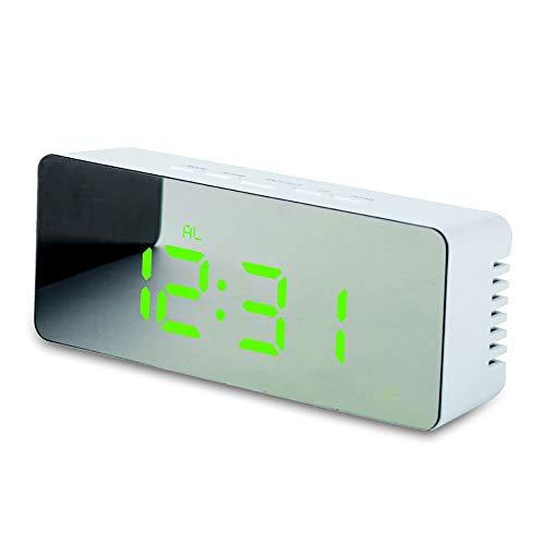 YSYSZYN Despertador Reloj de Alarma Digital Curvado Plano LED Pantalla de Reloj Despertador para niños Dormitorio Temperatura Snooze Función Escritorio Mesa de Mesa Decoración del hogar