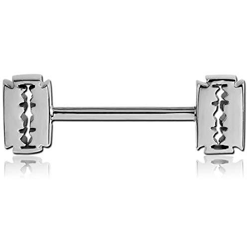 INOKI - Stahl Nippel Barbell Rasierklingen - Innere Länge 14 mm