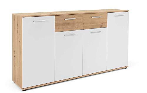 AVANTI TRENDSTORE - Jack - Sideboard con ante e cassetti in colore rovere artigianale e bianco. Disponibile in diverse misure. (Rovere artigianale, 160 x 85 x 35)