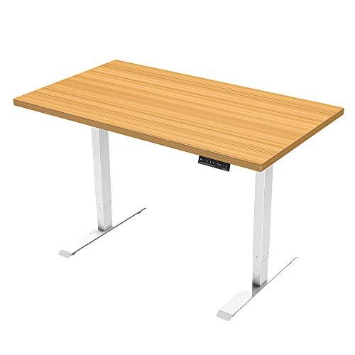 E.For.U® Q6 Elektrisch Höhenverstellbarer Schreibtisch + 140x80 cm MDF Tischplatte,höhenverstellbares Tischgestell 2 Motoren,2-Fach-Teleskop, mit Memory-Steuerung(weiß)