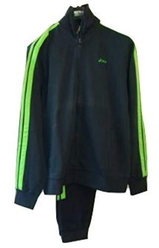 Asics Ginnastischer Trainingsanzug für Herren mit grünen Streifen, Blau 44