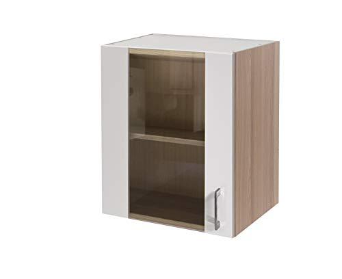 MMR Hängeschrank Küche DERRY, Glashängeschrank, 1-türig, wechselseitig montierbare Tür, Glastüren, Glasfront, Breite 50 cm, Perlmutt Weiß