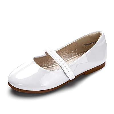 PANDANINJIA Girl's Toddler/Little Kid Samantha Dress Flats Shoes Pearl Flower Girl Ballet Flat Mary Jane (White Patent, 8 M US Toddler)