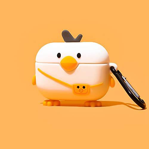 Kompatibel mit Airpods Fall, Silikon 3D niedlichen Tier Pinguin Huhn Ente Rentier Schweinchen Spaß Cartoon Charakter Airpod Abdeckung (AirPods Pro, Huhn mit Tasche)