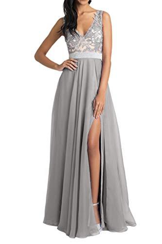 HUINI Damen Abendkleider Elegant Hochzeitskleider Brautjungfernkleider Lang Brautmutterkleider V-Ausschnitt Ballkleider Spitzen A-Linie Silber 32