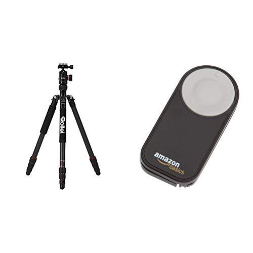 Rollei C5I | Schwarz | leichtes Foto-Stativ | Carbon| Reise-Stativ | Macro | Monopod | Arca Swiss & AmazonBasics IR-Fernauslöser für Nikon SLR-Digitalkameras