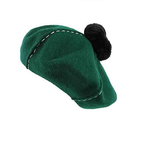 YDS SHOP leuke Franse baret voor vrouwen - normale lak kunstenaars-muts pom poms hoed, oranje/donkergroen dark green