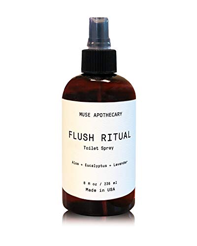 Muse Bath Apothecary Flush Ritual - Aromatic & Refreshing Before You Go Toilet Spray, 8 oz, Infused with Natural Essential Oils - Aloe + Eucalyptus + Lavender