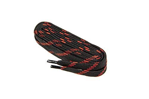 Flache Schnürsenkel für Arbeitsschuhe, Gesundheitsschuhe und Sicherheitsschuhe - robustes Gewebe, hergestellt in Europa von Worker Walker Laces Pro, 1 Paar (9131 - schwarz mit rot / 120 cm - 47 zoll)