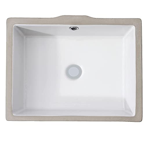 "AMASHEN Undermount Bathroom Sink White Rectangular Porcelain Ceramic Vanity Basin with Overflow 14"" x 10"""