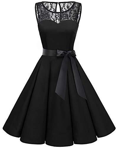 bbonlinedress 1950er Ärmellos Vintage Retro Spitzenkleid Rundhals Abendkleid Black XL