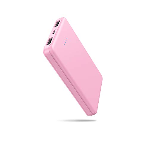 Mini Power Bank, Portable Charger 5000mAh Capacity External Battery Pack Dual Output Port with LED Status Indicator Power Bank for iPhone, Samsung Galaxy, Android Phone,Tablet & etc (Pink)