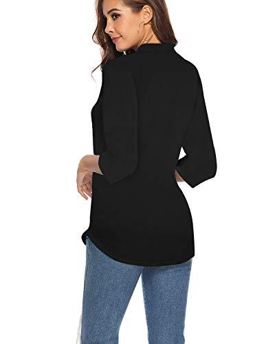 CEASIKERY - Blusa de Mujer con Mangas 3/4 Cuello de V Casual Camisa