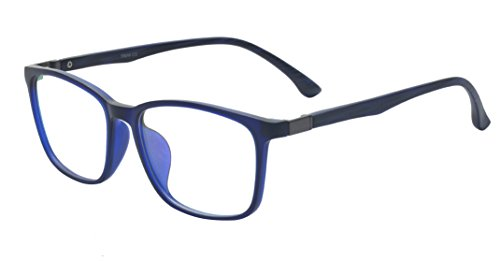 ALWAYSUV Occhiali da vista classici in vetro full frame retrò con lenti trasparenti per donna/uomo blu