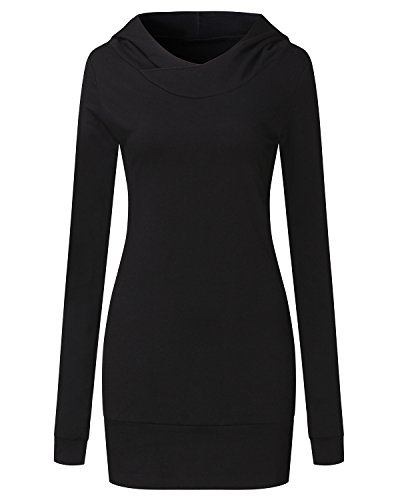 Auxo Damen Bodycon Kapuzenpullover Langarm Hoodie Tunika Longshirt Kleider Tops 01-schwarz Small