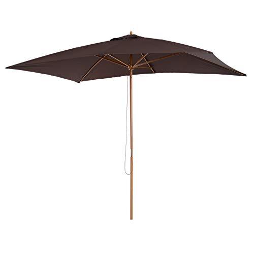 Outsunny Parasol Droit Hexagonal Bois Polyester Haute densité 2,95 x 2 x 2,55 m Chocolat