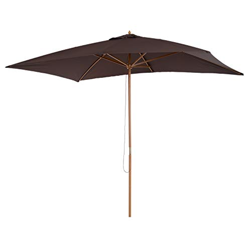 Outsunny Sombrilla Parasol 2x3m y Altura 2,55m Jardin Terraza Poliester 180g/m2 y Madera Color Chocolate