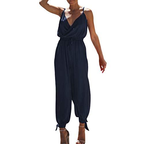 OverDose Soldes Combinaison Chic pour Femme Été Sexy Col v Caraco, Mode Pantalons Coupe Ballon de Soirée Jumpsuit Playsuit Clubwear