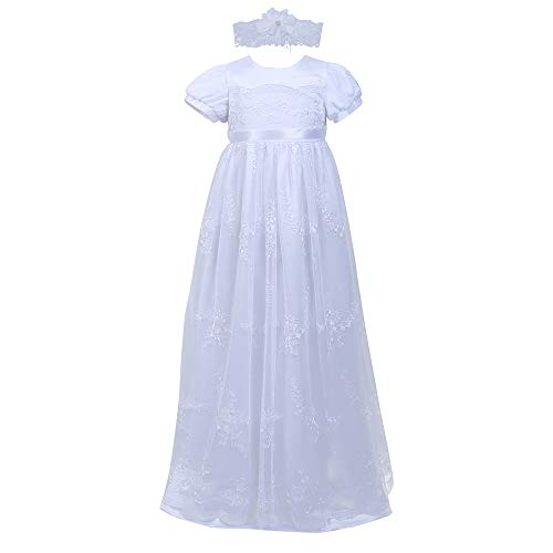 Baby Girls Newborn Christening Embroidered Gown Dress Outfit with Headband,0-12M