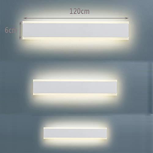 WVIVW LED Lampada da Parete Lunga Interni Metallo Acrilico Barra Luminosa Plafoniera Applique da Muro Lampada a Specchio per Camera da Letto Soggiorno Corridoio Bagno Scale Luce Calda Bianca,120cm