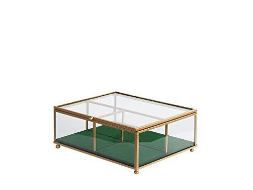 Beliani Joyero de cristal dorado con aspecto de espejo