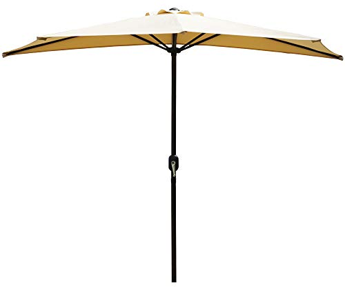 Kozyard 9 Ft Half Round Outdoor Patio Market Umbrella with 5 Ribs and Tilt Design for Balcony Deck Garden or Terrace Shade (Beige)