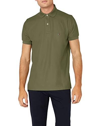 Tommy Hilfiger Herren Hilfiger Regular Polo Poloshirt, Grün (Four Leaf Clover 318), Medium
