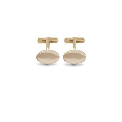 Jewellery World Bague en or jaune 9 carats forme ovale boutons de manchette – Fixations pivotant