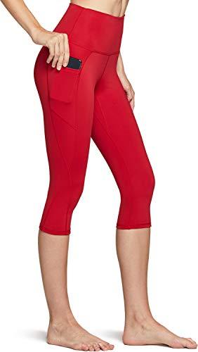 TSLA Women's Capri Yoga Pants, Workout Running Tights, 4-Way Stretch Leggings with Hidden/Side Pocket, Peachy Red, Medium