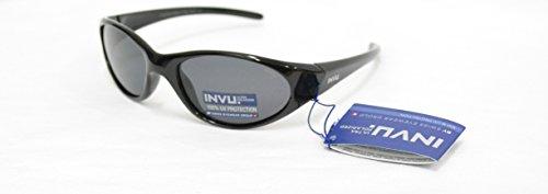 Invu, K 2408 A, Polarisierte Sonnenbrille für Kinder, schwarz, Gläser mit 100% UV-Schutz, ausziehbar