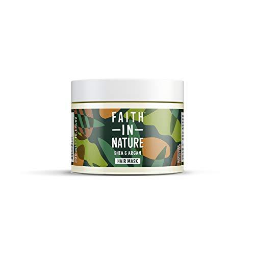 Faith in Nature Natürliche Shea & Argan Haarmaske, pflegend, vegan & tierversuchsfrei, Parabene und SLS frei, für trockenes Haar, 300 ml